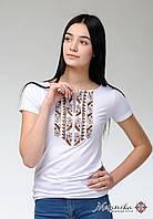 Жіноча літня футболка на короткий рукав із коричневою вишивкою «Природна експресія» , фото 1