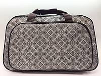 Женская серая дорожная текстильная сумка-саквояж малая для поездок ручная кладь