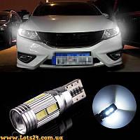 Авто-лампа с линзой W5W T10 10 LED 6000K CANBUS (габариты светодиодные + обманки от ошибок)