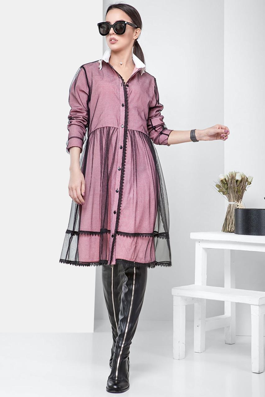 Платье декорированное сеткой