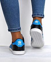 Подростковые женские кроссовки Adidas Gazelle черные реплика, фото 2