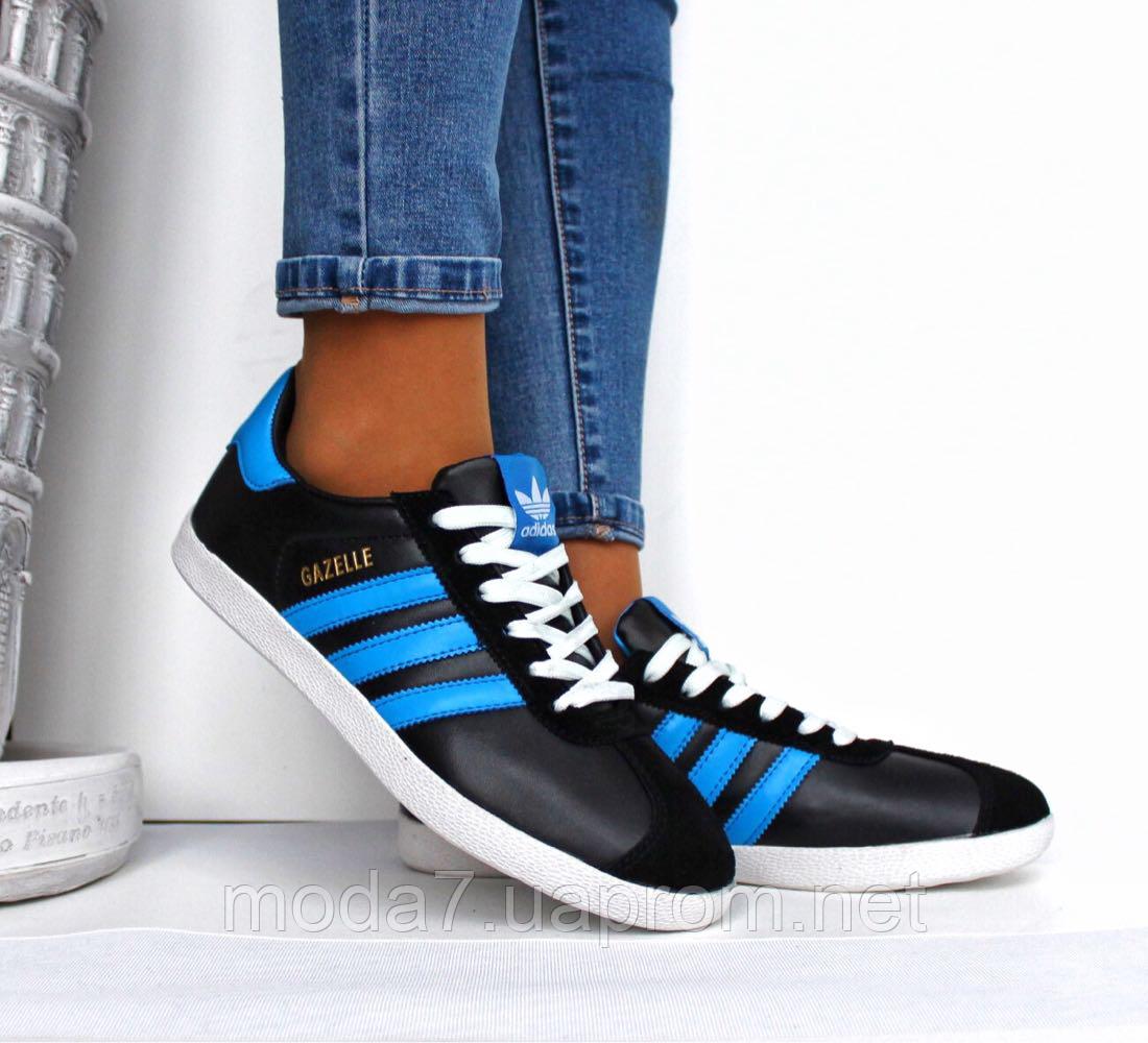 Подростковые женские кроссовки Adidas Gazelle черные реплика