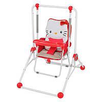 Качели NA 02 B, НК,2в1 (стульчик) красный с белым