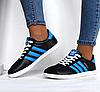 Подростковые женские кроссовки Adidas Gazelle черные реплика, фото 4