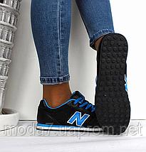 Кроссовки женские - подростковые черные New Balance 680 нат. кожа сетка реплика, фото 2