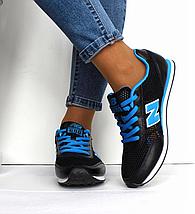Кроссовки женские - подростковые черные New Balance 680 нат. кожа сетка реплика, фото 3