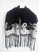 Гламурный шарф Philippe Carat бело-черный с цветами