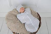 "Пеленка кокон для сна для новорожденных на молнии + шапочка, ""Wind"" серый меланж, для деток 0-3 мес."