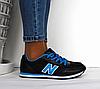 Кроссовки женские - подростковые черные New Balance 680 нат. кожа сетка реплика, фото 4
