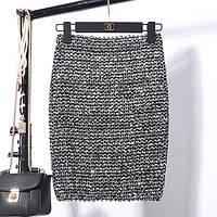 Женская бандажная юбка карандаш с пайетками серебристая, фото 1