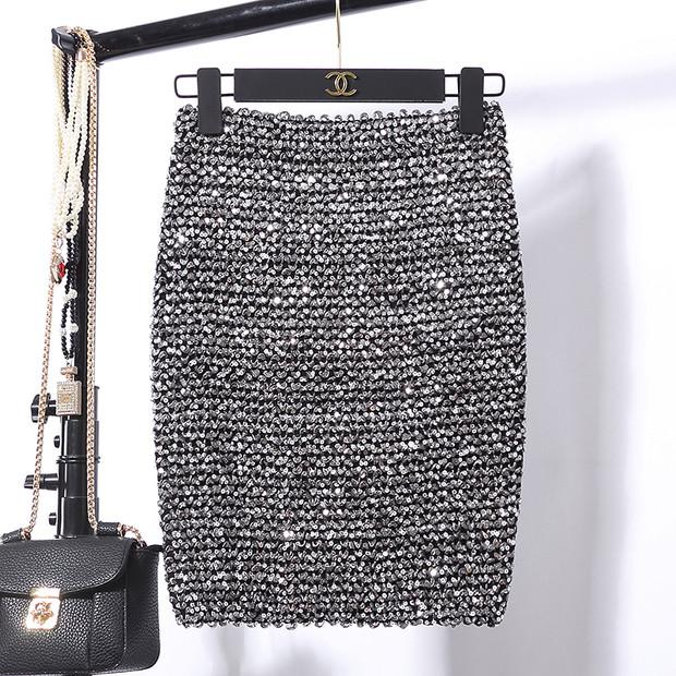 Женская бандажная юбка карандаш с пайетками серебристая