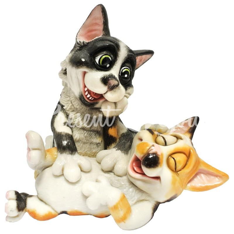 Фигурка-статуэтка коллекционная с керамики, Англия, пара котят «Алекс и Джойо», h-16,5 см
