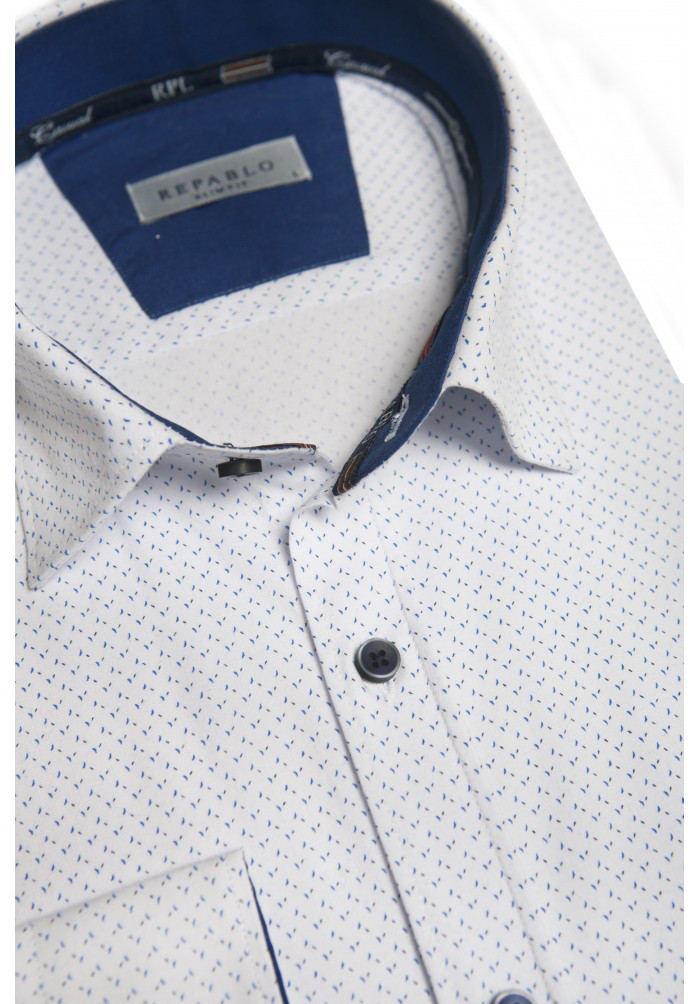 Белая рубашка с синим узором KS 1822-1 разм. 3XL