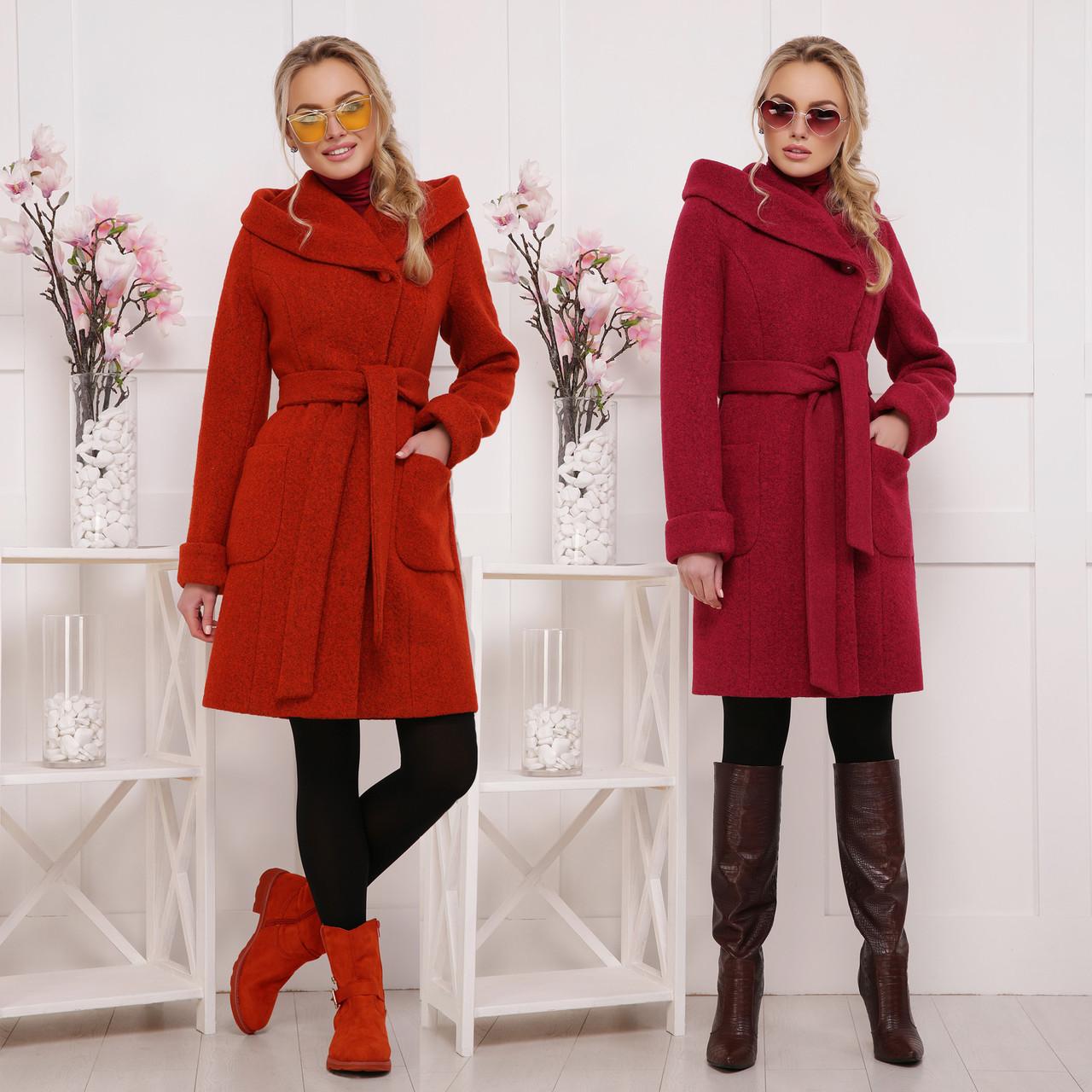 815595df271 Женское приталенное пальто с поясом и капюшоном из шерсти - Интернет-магазин