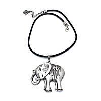Колье стильное Веселый слоник посеребрение, натуральная кожа