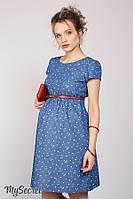 Джинсовое платье для беременных и кормящих CELENA DR-28.011, сердечки на темном джинсе, фото 1
