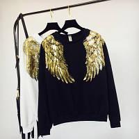 Женский свитшот реглан Крылья с пайетками черный, фото 1