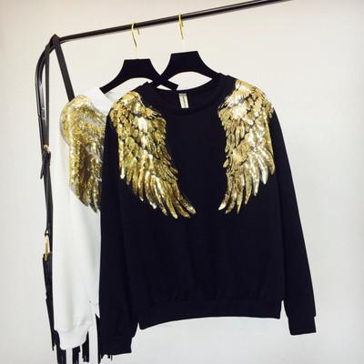 Женский свитшот реглан Крылья с пайетками черный