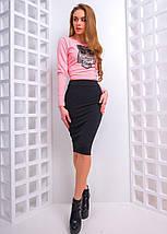 ade6bd1198f Женский костюм из юбки-карандаш и топа с длинным рукавом и нашивкой сова 42-