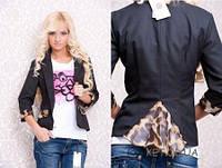 Женский стильный пиджак с леопардовыми вставками