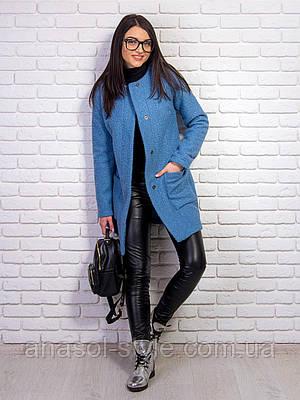 Пальто Вика букле демисезонное голубое