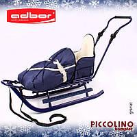 Санки Adbor Piccolino Komplet со спальным мешком, регулируемой ручкой и подножками