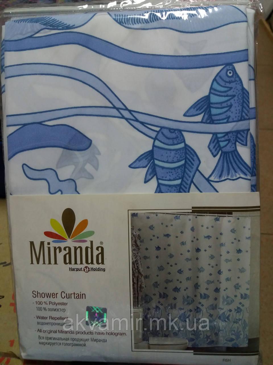 Штора в ванную  Miranda Fish (Турция) 180х200 см голубая