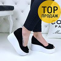 Женские туфли, платформа 6 см, черные с белым / туфли женские велюровые, с открытым носком, удобные, модные