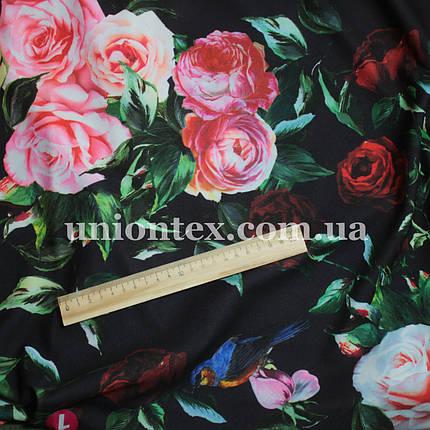 Креп- дайвинг трикотаж принт розы, фото 2