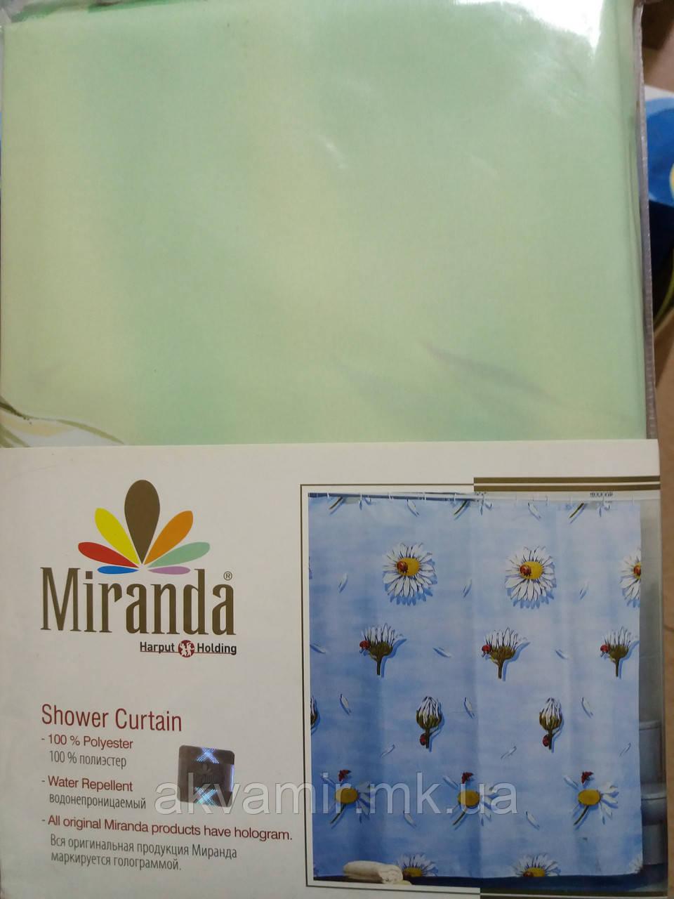 Штора в ванную  Miranda Lucky Daisy (Турция) 180х200 см зеленая