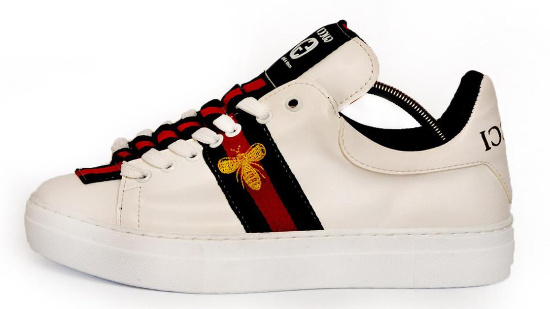 Мужские кеды Gucci Ace Embroidered Sneaker (Гуччи) белые