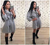 Классное женское пальто светло-серого цвета