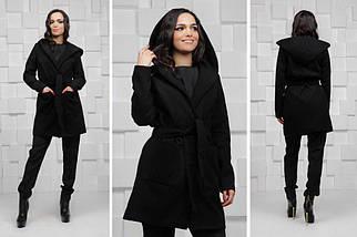 """Женское кашемировое пальто на запах """"Paris"""" с карманами и капюшоном (3 цвета), фото 2"""