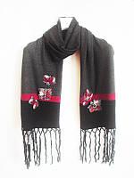 Шарф серый Philippe Carat с цветам из войлока, фото 1