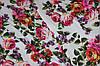 Ткань супер софт, цветочная поляна, белый фон №17