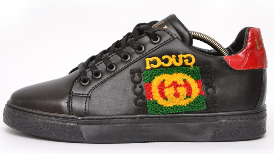 Мужские кеды Gucci Rhyton logo Sneaker (Гуччи) черные
