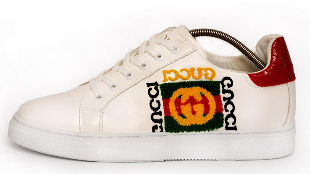 Мужские кеды Gucci Rhyton logo Sneaker (Гуччи) белые