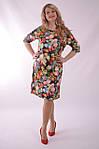 Платье свободного кроя трикотажное в цветах трапеция Пл 052-2 , 48,50,52 ., фото 3