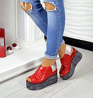 Красные кожаные босоножки на платформе, фото 1