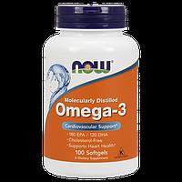 Omega 3 NOW 200 капсул, Омега-3 Рыбий жир для сердца, Omega-3 fish oil, Now Foods, 180 EPA/120 DHA