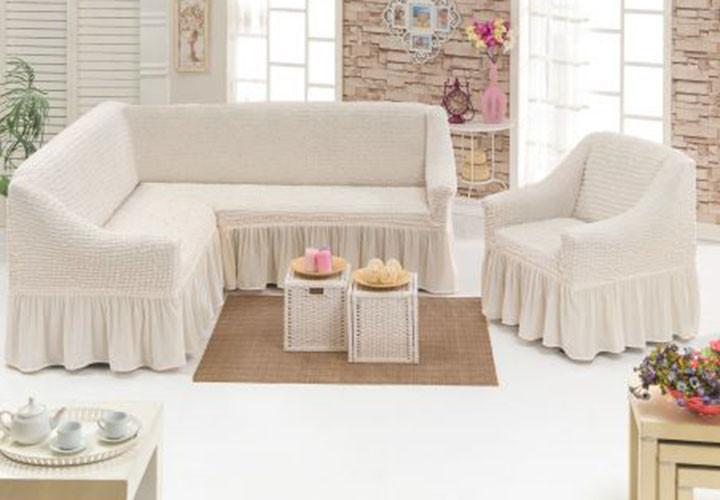 Чехол на угловой диван + кресло  DO&CO, цвет кремовый