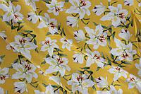 Ткань супер софт цветы на желтом, фото 1