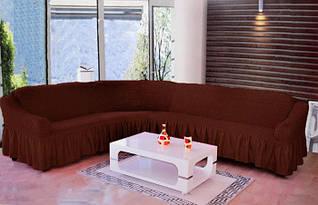 Чехол на угловой диван  ТМ Demfirat Karven, цвет шоколадный