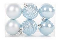 Набор елочных шаров 6 см, цвет - голубой, 6шт: мат, перламутр, перламутр с рельефом - по 2 шт BonaDi 147-272