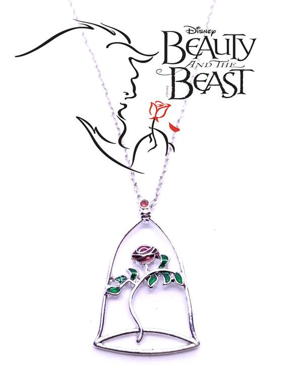 Кулон роза в колбе стилизованная Красавица и чудовище Beauty and the Beast