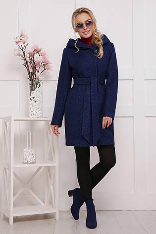 Женское шерстяное пальто, темно-синее, р.44,46,48, фото 2