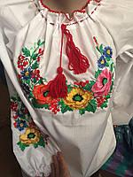 Вышиванка белая нарядная с красивым цветочным узором на девочку-подростка 375d75671b7d9
