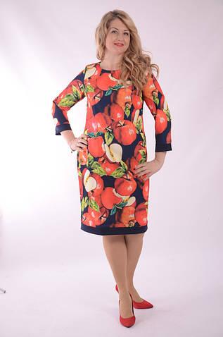 """Платье  Пл 070 с ярким """"фруктовым"""" 3-D дизайнерским принтом Dolce & Gabbana Яблоки"""