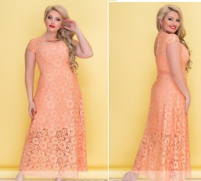 a30c729c8c7 Вечернее гипюровое платье в пол больших размеров. 5 цветов! -  Интернет-магазин