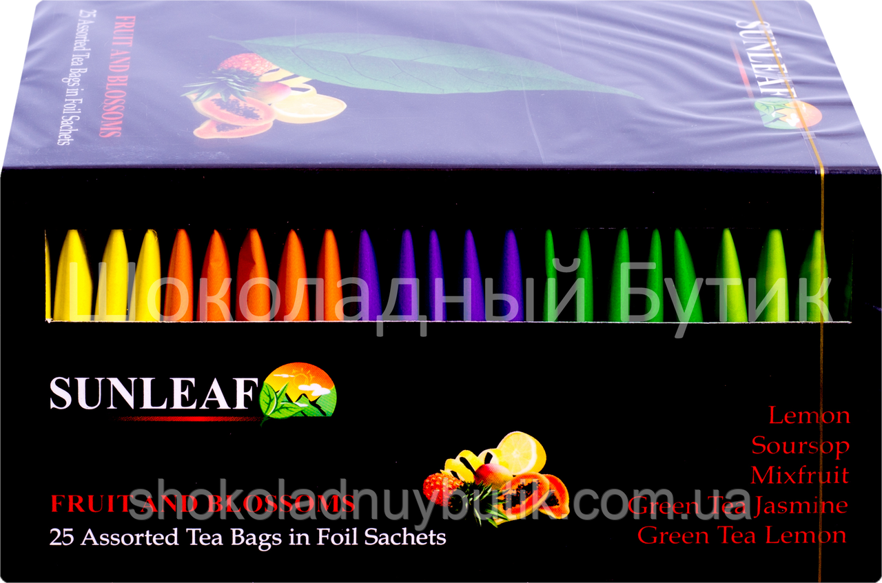 Чай SUNLEAF FRUIT & BLOSSOMS , черный и зеленый микс с фруктами и цветами, 25 пакетиков, 50г.